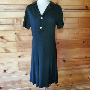 1960s Unlabeled Black, Ribbed, Polyester Dress